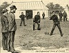 """An improvised game of cricket"", from ""Volunteer life in camp at Aldershot"" in The Graphic<, 9 July 1887."