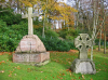 Graves of Louisa & Georgiana Daniells, together on the large memorial on the left, and Kate Hanson, the smaller cross to the left, in the Aldershot Military Cemetery. (Paul H. Vickers)