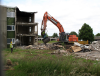 The end of Montgomery Lines. The demolition of the accommodation blocks in June 2015.