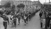 The Hampshire Regiment, led by mascot Fritz, march down Barrack Road (now Princes Way) after receiving the Freedom of the Borough of Aldershot, 11 September 1945.